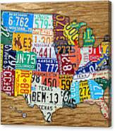 Usa License Plate Map Car Number Tag Art On Light Brown Stained Board Canvas Print