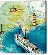 Uscg Chase Helicopter Chart Map Art Peek Canvas Print