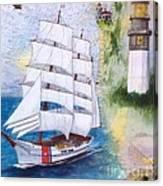 Uscg Tall Ship Eagle Chart Art Peek Canvas Print