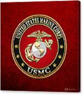 U S M C Eagle Globe And Anchor - E G A On Red Velvet Canvas Print