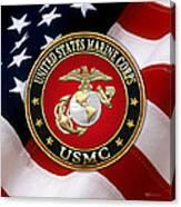 U S M C Eagle Globe And Anchor - E G A Over American Flag. Canvas Print
