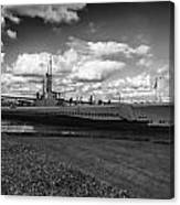 Uss Bowfin-black And White Canvas Print
