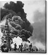 Uss Bunker Hill Kamikaze Attack  Canvas Print