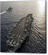 Uss George Washington And Uss Mobile Canvas Print