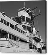 Uss Iowa Battleship Portside Bridge 01 Bw Canvas Print