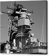 Uss Iowa Battleship Starboardside Bridge 02 Bw Canvas Print
