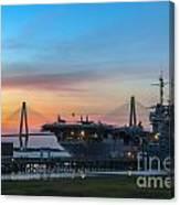Uss Yorktown Sunset Canvas Print