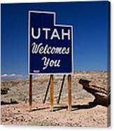 Utah Welcomes You State Sign Canvas Print