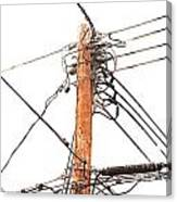Utility Pole Hung With Electricity Power Cables Canvas Print