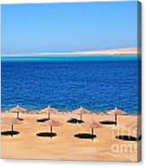 Parasol At Red Sea,egypt Canvas Print