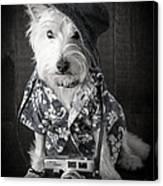 Vacation Dog With Camera And Hawaiian Shirt Canvas Print