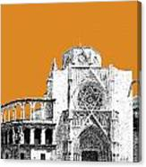 Valencia Skyline Valencia Cathedral - Dark Orange Canvas Print