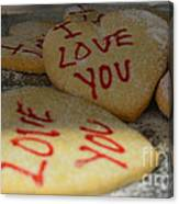 Valentine Wishes And Cookies Canvas Print