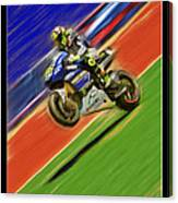 Valentino Rossi Wheely Down The Blue Red And Green Canvas Print
