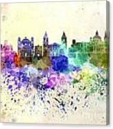 Valletta Skyline In Watercolor Background Canvas Print