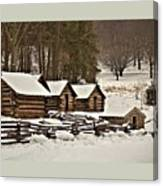 Valley Forge Cabins In Snow 2 Canvas Print