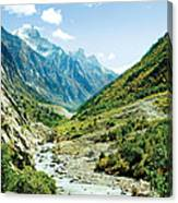 Valley Of River Ganga In Himalyas Mountain Canvas Print
