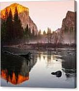 Valley View Winter Sunset Yosemite National Park Canvas Print