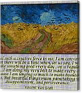Van Gogh Motivational Quotes - Wheatfield With Crows II Canvas Print