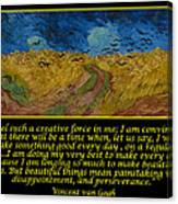 Van Gogh Motivational Quotes - Wheatfield With Crows Canvas Print