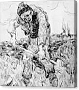 Peasant Hoeing Canvas Print