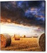 Van Gogh Style Digital Painting Beautiful Golden Hour Hay Bales Sunset Landscape Canvas Print
