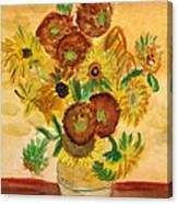 van Gogh's Sunflowers in Watercolor Canvas Print