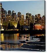 Vancouver Bc City Skyline And Deadman's Island Canvas Print