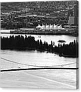 Vancouver Bc City Skyline And Lions Gate Bridge Canvas Print