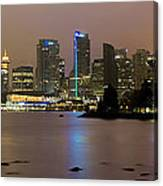Vancouver Bc City Skyline At Night Canvas Print