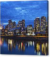 Vancouver Bc City Skyline With Bc Place At Blue Hour Canvas Print