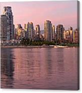 Vancouver Bc Skyline Along False Creek At Dusk Canvas Print