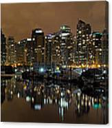 Vancouver Bc Skyline From Stanley Park At Nigh Canvas Print