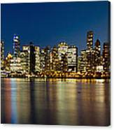 Vancouver Bc Skyline From Stanley Park During Blue Hour Canvas Print