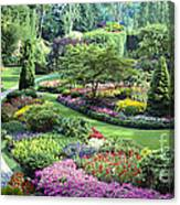 Vancouver Butchart Sunken Gardens Beautiful Flowers No People Panorama Canvas Print