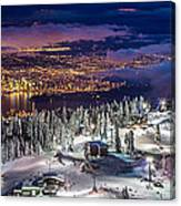 Vancouver City Panorama From Grouse Mountain  Canvas Print