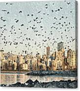 Vancouver Skyline With Crows Canvas Print