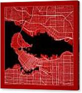 Vancouver Street Map - Vancouver Canada Road Map Art On Color Canvas Print