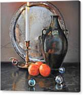 Vanitas Still Life By Candlelight With Clementines 1 Canvas Print