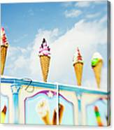 Variety Of Ice Cream Sculptures On Cart Canvas Print