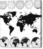 Various views of the world as a globe, and on flat surface  Canvas Print