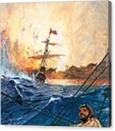 Vasco Da Gama's Ships Rounding The Cape Canvas Print