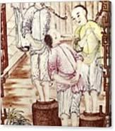 Vase Depicting Men Packing Tea Canvas Print