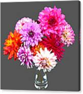 Vase Of Bright Dahlia Flowers Posterized Canvas Print