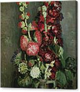 Vase Of Hollyhocks Canvas Print