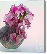 Vase Of Pretty Pink Sweet Peas 2 Canvas Print