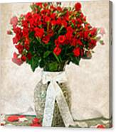Vase Of Red Roses Canvas Print
