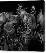 Vase of Roses in Black and White Canvas Print
