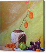 Vase With Orange Leaves And Fruit Canvas Print