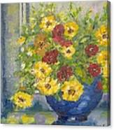 Vase With Yellow Flowers Canvas Print